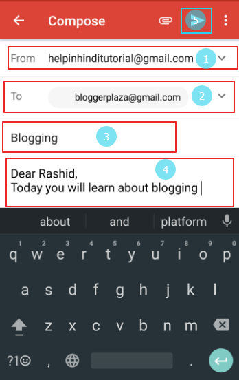 fill all details and click on send icon