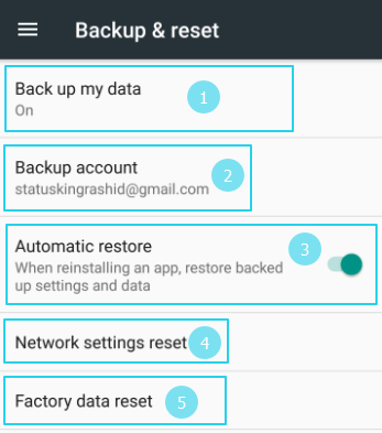 choose your settings and click on factory data reset