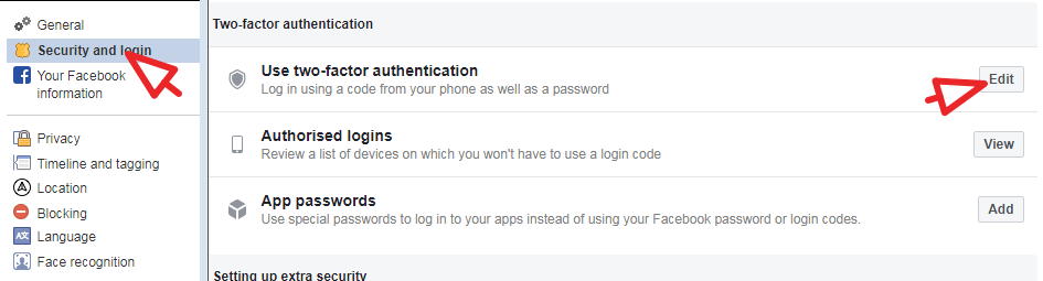 click on security and login