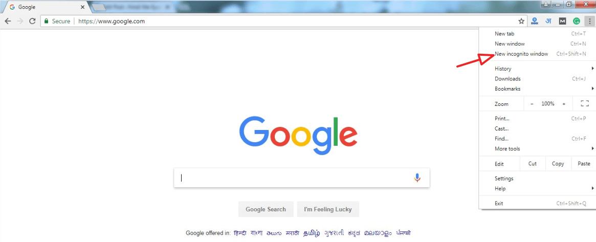 Open Google In Incognito Window