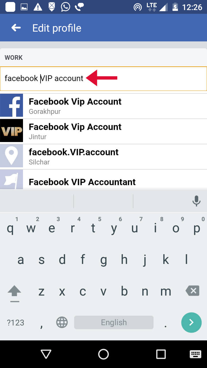 search facebook vip account