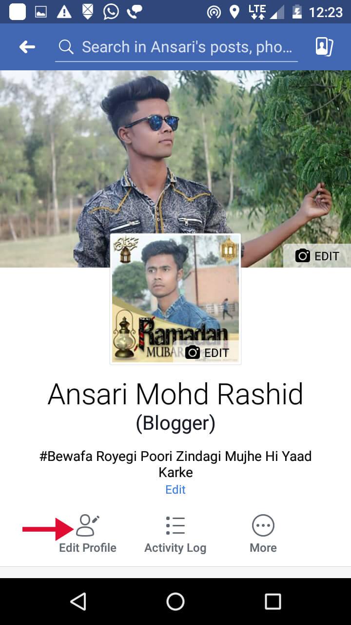 click on edit profile