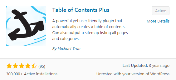 table of contents setup