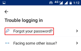 click on forgot your password
